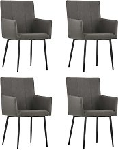 vidaXL Dining Chairs with Armrests 4 pcs Taupe