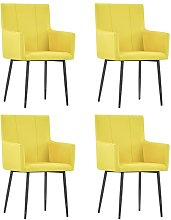 vidaXL Dining Chairs with Armrests 4 pcs Yellow