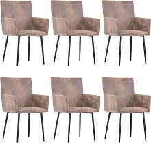 vidaXL Dining Chairs with Armrests 6 pcs Brown