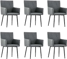 vidaXL Dining Chairs with Armrests 6 pcs Dark Grey