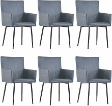 vidaXL Dining Chairs with Armrests 6 pcs Grey Faux