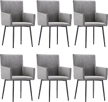 vidaXL Dining Chairs with Armrests 6 pcs Grey