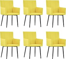 vidaXL Dining Chairs with Armrests 6 pcs Yellow