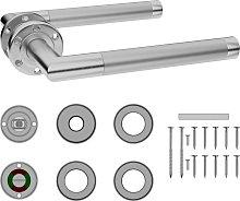vidaXL Door Handle Set with WC Lock Stainless