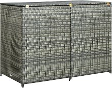 vidaXL Double Wheelie Bin Shed Poly Rattan