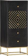 vidaXL Drawer Cabinet Black and Gold 45x30x105 cm