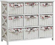 vidaXL Drawer Cabinet with Nine Baskets White Wood