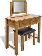 vidaXL Dressing Table with Stool Solid Oak Wood -