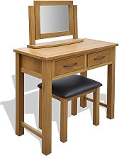 vidaXL Dressing Table with Stool Solid Oak Wood