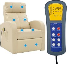 vidaXL Electric Massage Chair with Remote Control Cream