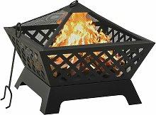 vidaXL Fire Pit with Poker 64 cm XXL Steel - Black