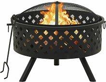 vidaXL Fire Pit with Poker 68 cm XXL Steel - Black