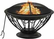 vidaXL Fire Pit with Poker 75 cm XXL Steel - Black