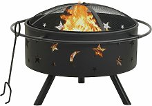 vidaXL Fire Pit with Poker 76 cm XXL Steel - Black