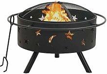 vidaXL Fire Pit with Poker Fire Bowl Patio Heater