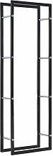 vidaXL Firewood Rack Black 50x20x150cm Steel