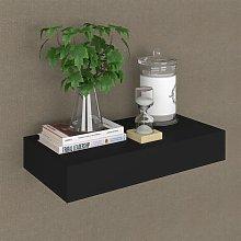 vidaXL Floating Wall Shelf with Drawer Black