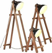 vidaXL Floor Lamps 3 pcs Black E27 Solid Mango