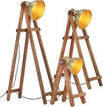 vidaXL Floor Lamps 3 pcs Brass E27 Solid Mango