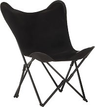 vidaXL Foldable Butterfly Chair Black Real Leather