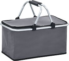 vidaXL Foldable Cool Bag Grey 46x27x23 cm