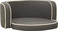 vidaXL Foldable Dog Sofa Grey 76x71x30 cm Linen