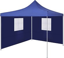 vidaXL Foldable Tent with 2 Walls 3x3 m Blue