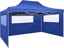 vidaXL Foldable Tent with 3 Walls 3x4.5 m Blue