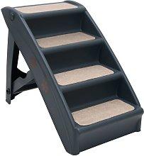 vidaXL Folding 4-Step Dog Stairs Dark Grey