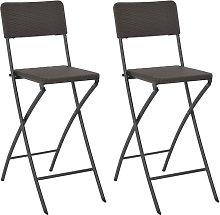 vidaXL Folding Bar Chairs 2 pcs HDPE and Steel