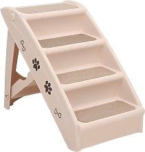 vidaXL Folding Dog Stairs Cream 62x40x49.5 cm