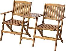 vidaXL Folding Garden Bench with Tea Table 140 cm