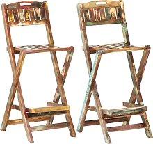 vidaXL Folding Outdoor Bar Chairs 2 pcs Solid