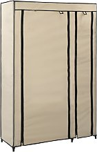 vidaXL Folding Wardrobe Cream 110x45x175 cm Fabric