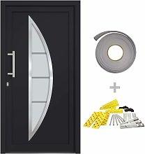 vidaXL Front Door Anthracite 98x200 cm - Grey