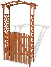 vidaXL Garden Arch with Gate Solid Wood 120x60x205