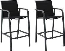vidaXL Garden Bar Chairs 2 pcs Black Textilene