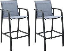 vidaXL Garden Bar Chairs 2 pcs Grey Textilene