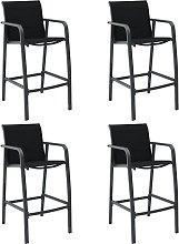 vidaXL Garden Bar Chairs 4 pcs Black Textilene