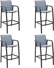 vidaXL Garden Bar Chairs 4 pcs Grey Textilene