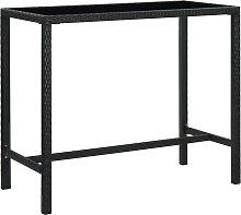 vidaXL Garden Bar Table Black 130x60x110 cm Poly