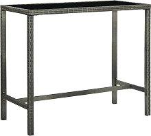 vidaXL Garden Bar Table Grey 130x60x110 cm Poly