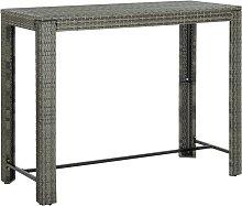 vidaXL Garden Bar Table Grey 140.5x60.5x110.5 cm