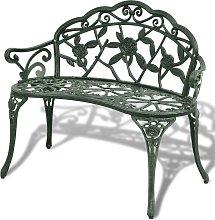 vidaXL Garden Bench 100 cm Cast Aluminium Green