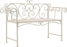 vidaXL Garden Bench 132 cm Metal Antique White