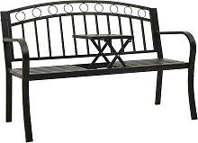 vidaXL Garden Bench with a Table 125 cm Steel Black