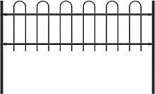 vidaXL Garden Fence with Hoop Top Steel 1.7x0.6 m
