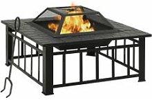 vidaXL Garden Fire Pit with Poker 81x81x47 cm XXL