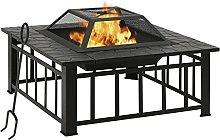 vidaXL Garden Fire Pit with Poker Fire Bowl Patio