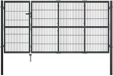 vidaXL Garden Gate with Posts Steel 350x120 cm